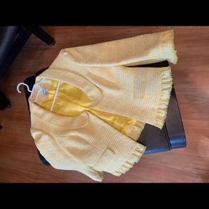 Yellow jacket with cute scoop neck detail